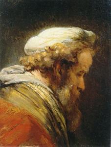 Borststuk van een oude man met een tulband