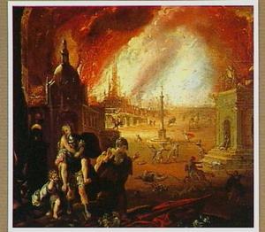 Aeneas ontvlucht het brandende Troje met zijn vader Anchises op zijn rug