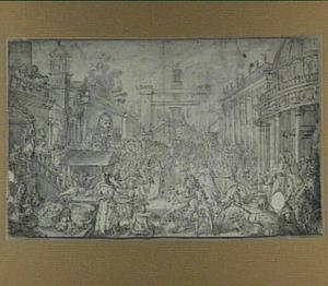 Rome, menigte op het Campidoglio met gefantaseerde architecturale toevoegingen