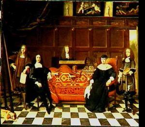 Groepsportret van een schilder met zijn vrouw en drie leerlingen