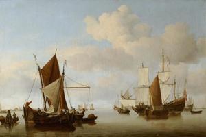 Vissersboten op een kalme zee