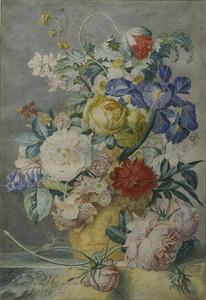 Bloemstilleven in een terracotta vaas op een marmeren blad, met voor de vaas een rozentak