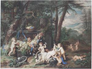 Bacchanaal van putti, in een landschap