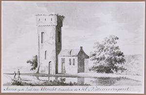 Een toren op de stadswal van Utrecht tussen Tolsteegpoort en Wittevrouwenpoort