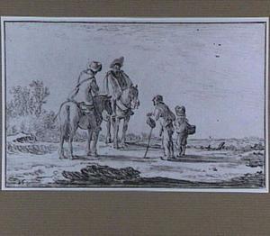 Landschap met twee ruiters te paard, een bedelaar en een jongen