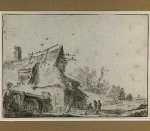 Vervallen watermolen aan een landweg en drie figuren