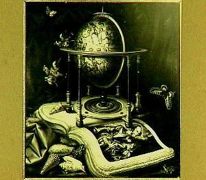 Stilleven met boek en globe