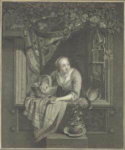 Jonge vrouw met fruitmand in venster