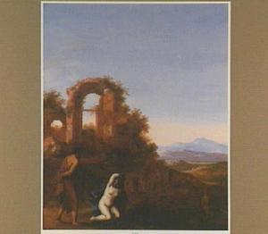 Arcadisch landschap met Juda dieTamar, vermomd als lichte vrouw zittend aan de weg vindt(Genesis 38:15-16)