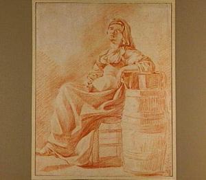 Zittende jonge vrouw, leunend op een ton