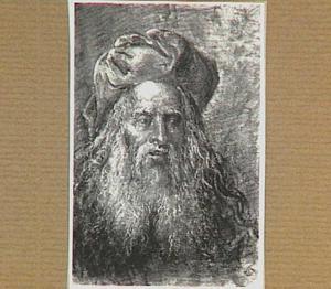 Kop van een oude man met baard en tulband