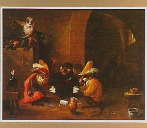 Kaartspelende apen in een herberg