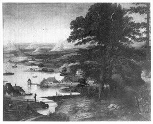 Landschap met bebouwing langs het water en een watermolen