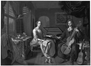 Dubbelportret van een musicerend paar in een elegant interieur