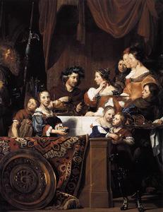 Portrait historié van Salomon de Bray (1597-1664), met zijn familie en een bediende