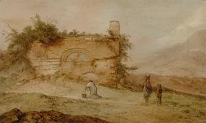 Zuidelijk landschap met figuren bij een ruïne