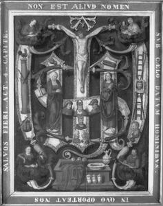 Gekruisigde Christus met Maria en Johannes, de Arma Christi en de vier evangelisten