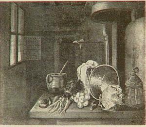 Stilleven van keukenattributen en groenten op een tafel in een ruimte met open raam