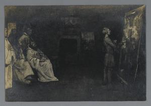 Monniken kijken naar werkende schilder
