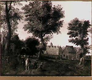 Landschap met ruiters, op de achtergrond een kasteel