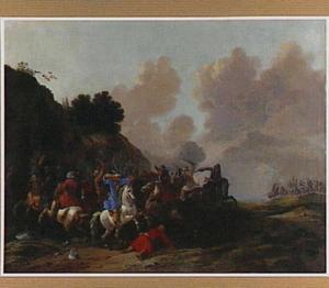 heuvellandschap met een ruitergevecht tussen Europese en Turkse soldaten