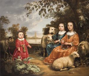 Drie meisjes met schapen in een landschap