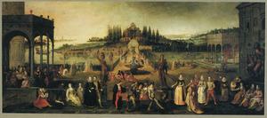 Elegant gezelschap in een paleistuin met 'Commedia dell'Arte'