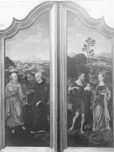De HH. Antonius van Padua en Nicolaas van Tolentino (links); De HH. Johannes de Doper en Catharina (rechts)