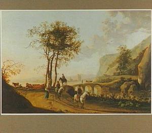 Landschap met enkele ruiters en herders
