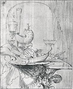 Stilleven met schaal met vruchten, nautilusbeker en glaswerk