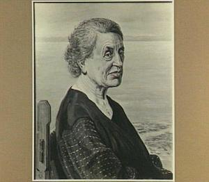 Portret van de schilderes Anna Egter van Wissekerke met een schilderij van de Maas en Den Briel op de achtergrond