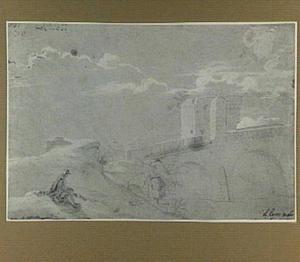 Rome, de Ponte Molle (Milvio), met op de voorgrond een tekenaar