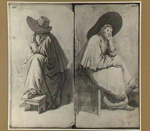 Twee studies van een zittende vrouw met grote hoed