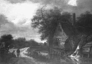 Landschap met huisje bij een brug