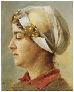 Portret van een vrouw met witte kap