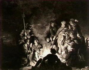 Paulus op Malta door een adder gebeten (Hand. 28:3-5)