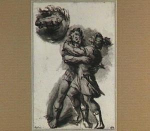Twee vechtende mannen en studie van een paardenhoofd
