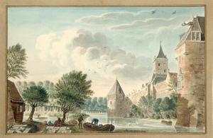 De stadsmuur van Utrecht gezien vanaf het Begijnebolwerk, met van links naar rechts waltoren De Vos, Plompetoren en waltoren De Beer