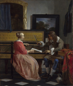 Man en vrouw zittend bij een virginaal