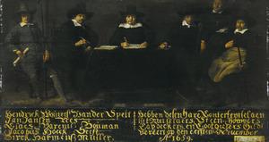 De overlieden van het Metselaars-, Steenhouwers-, Leidekkers- en Loodgietersgilde, Amsterdam