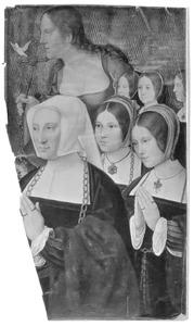 Portret van Marguerite Numan, echtgenote van Philippe Haneton, met haar vijf dochters en de H. Margaretha