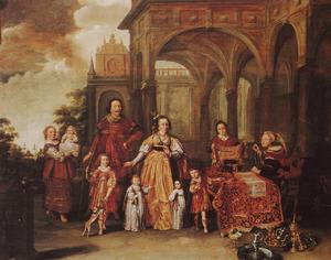 Portret van een familie, als Cornelia, moeder der Gracchen, die haar ware juwelen toont in de vorm van haar zoons Tiberius en Gaius