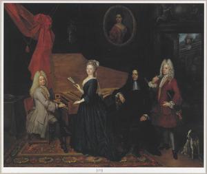 Groepsportret van Johan Hendrik van der Does (1672-1744), Hester Sengwerd (1669-1716), met familieleden en een bediende