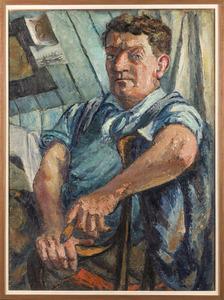Zelfportret Fiedler met sigaar