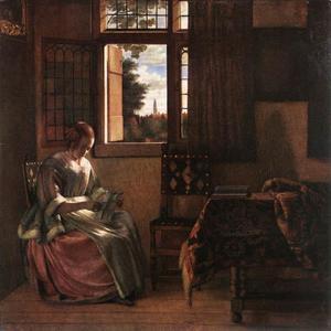 Vrouw, een brief lezend bij het venster