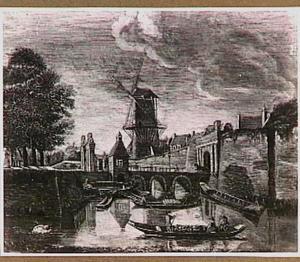 De Utrechtse Tolsteegpoort met omgeving in de herfst, met de tot molen verbouwde Bijlhouwerstoren