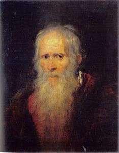 Portret van  een baardige oude man