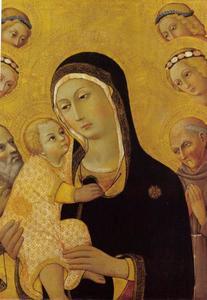 Maria en kind met heiligen en engelen