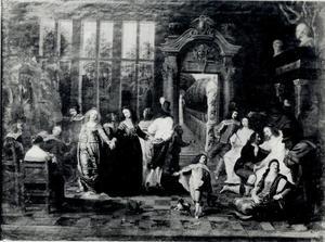 Elegant dansend gezelschap in een interieur