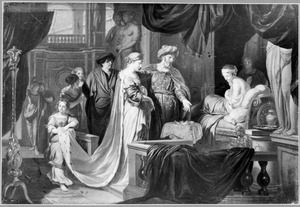 Koning Seleukos schenkt troon en (tweede) gemalin Stratonike aan zijn zoon Anthiochus